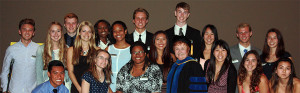 group photo recipients of Kiwanis Club of Rolling Hills Estates 2014 Scholarships with Kiwanis member Dr. Joyce Campbell